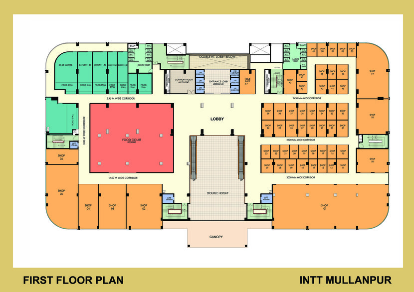 first floor plan for retail shops at international trade tower INTT first floor Omaxe mall
