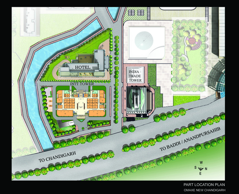 Global Business park site plan at madhya marg road extension new chandigarh commercial mall cum retail shops and holiday inn